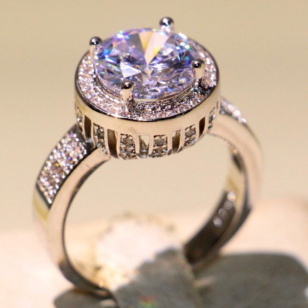 Anneau de mariage couronne éblouissante anneau rond 5A zircon cubique Pave CZ 925 argent Sterling promesse bijoux bague pour les femmes - 2