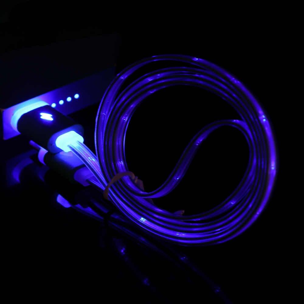 1 قطعة جديد Fashional الملونة المصغّر usb LED الكابلات المضيئة مرئية تهمة مزامنة البيانات ل هاتف أندرويد ذكي