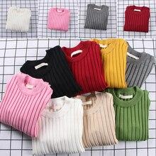 Детские свитера Детская Детский трикотажный свитер для девочек Демисезонный малыша свитера тонкий трикотаж пуловер в рубчик Кардиган Топы