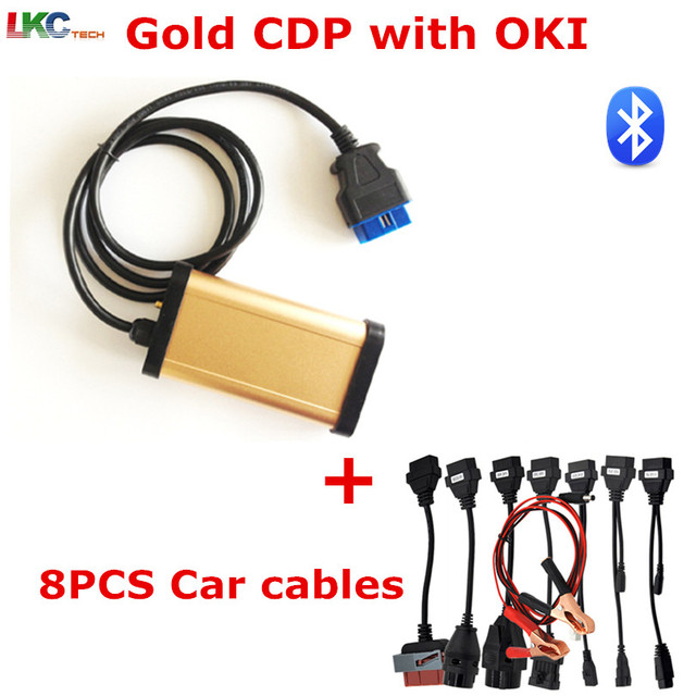 Big Sale 2018 Best Gold TCS CDP With bluetooth + OKI chip Newest TCS CDP Pro + Full set 8 car cables auto diagnostic tool OBD2 Scanner