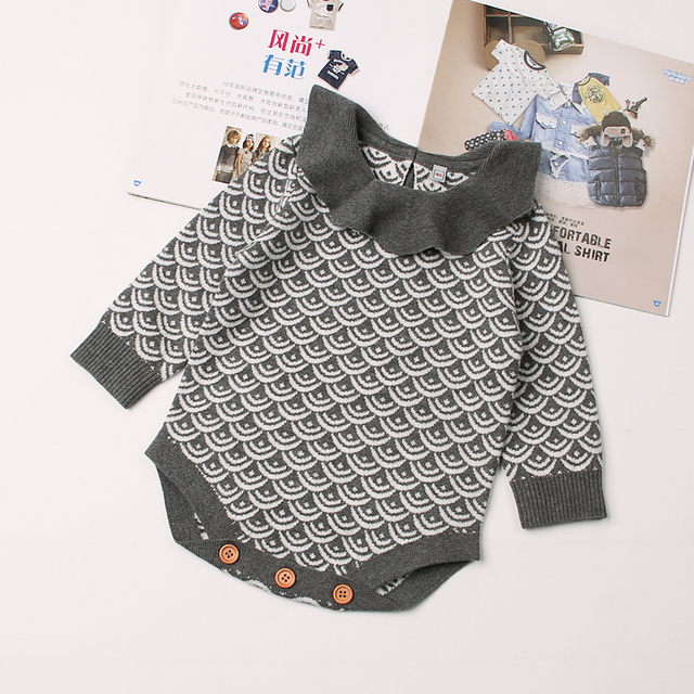 273ffd3d57f7 Autumn Toddler Girls Bodysuits Clothes Grey Long Sleeved Newborn Baby Onesie  Winter Warm Infant Coveralls Children Knit Clothing