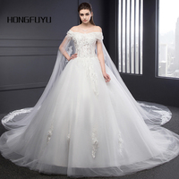 Elegant Sweetheart Neck Tulle Appliques Cap Sleeve Long Wedding Dresses 2018 Bead Flowers Lace UP Ball Gown Wedding Gowns SML209