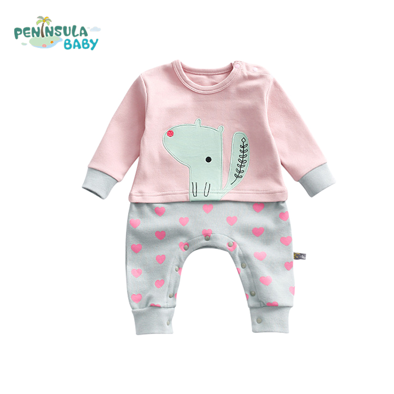 Cute Newborn Kids Baby Rompers Long Sleeve Cotton Cartoon Printed Patchwork Jumpsuit Romper Boy Girls Baby Outfits Clothes 2017 summer toddler kids girls striped baby romper off shoulder flare sleeve cotton clothes jumpsuit outfits sunsuit 0 4t