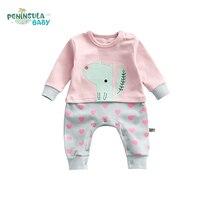 Cute Newborn Kids Baby Rompers Long Sleeve Cotton Cartoon Printed Patchwork Jumpsuit Romper Boy Girls Baby