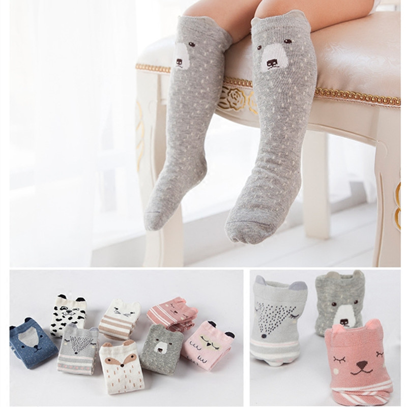 2017 Animal Socks Kids Anti Slip Cute Baby Socks Long Cotton Fox Cat Boys Girls Leg Warmer Stripes Footwear Funny Quality 1-4Y