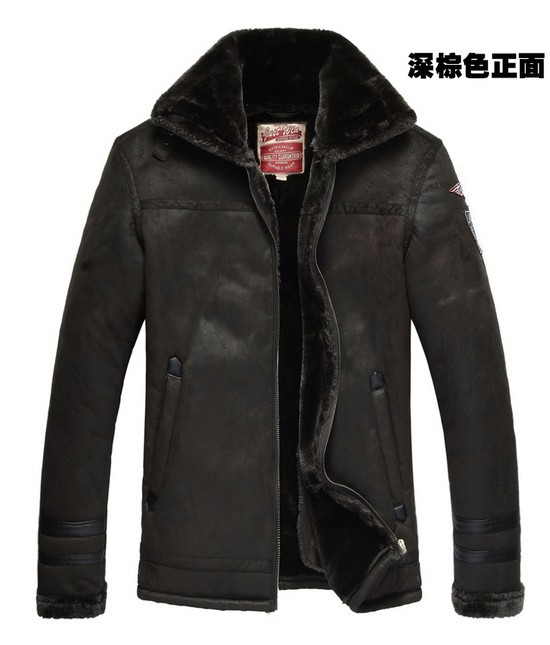 Crazy promotion ! Winter new men's luxury leather fur coat plus thick wool leather jacket lapel sexy costumes male M -3XL
