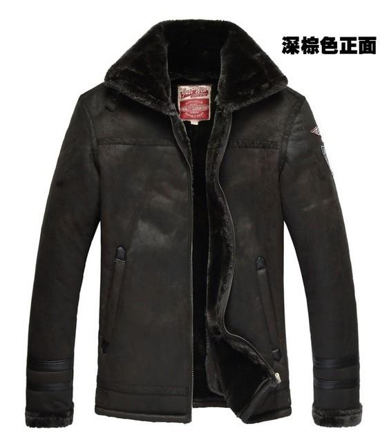 미친 홍보! 겨울 새로운 남성 고급 가죽 모피 코트 플러스 두꺼운 모직 가죽 자켓 옷깃 섹시한 의상 남성 M -3XL