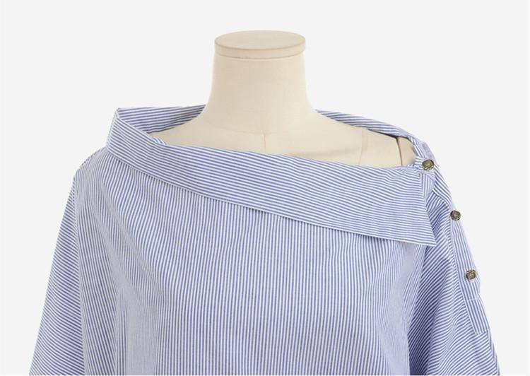 Frauen Gestreifte Blusen Sexy Langarmshirts Schulterfrei Top Bluse - Damenbekleidung - Foto 3
