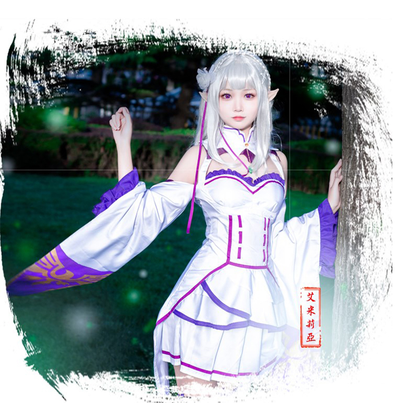 Re Zero kara Hajimeru Isekai Seikatsu Emilia Cosplay Costume( Dress*1pc,Stocking*2pcs,Headwear*1pc)