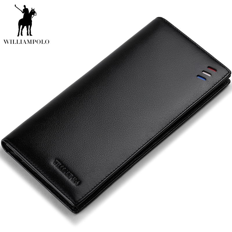 WILLIAMPOLO Wallet For Men In Soft Leather Id Credit Card Holder Long Purses Fashion Men Real Leather Clutch Bag Minimalist