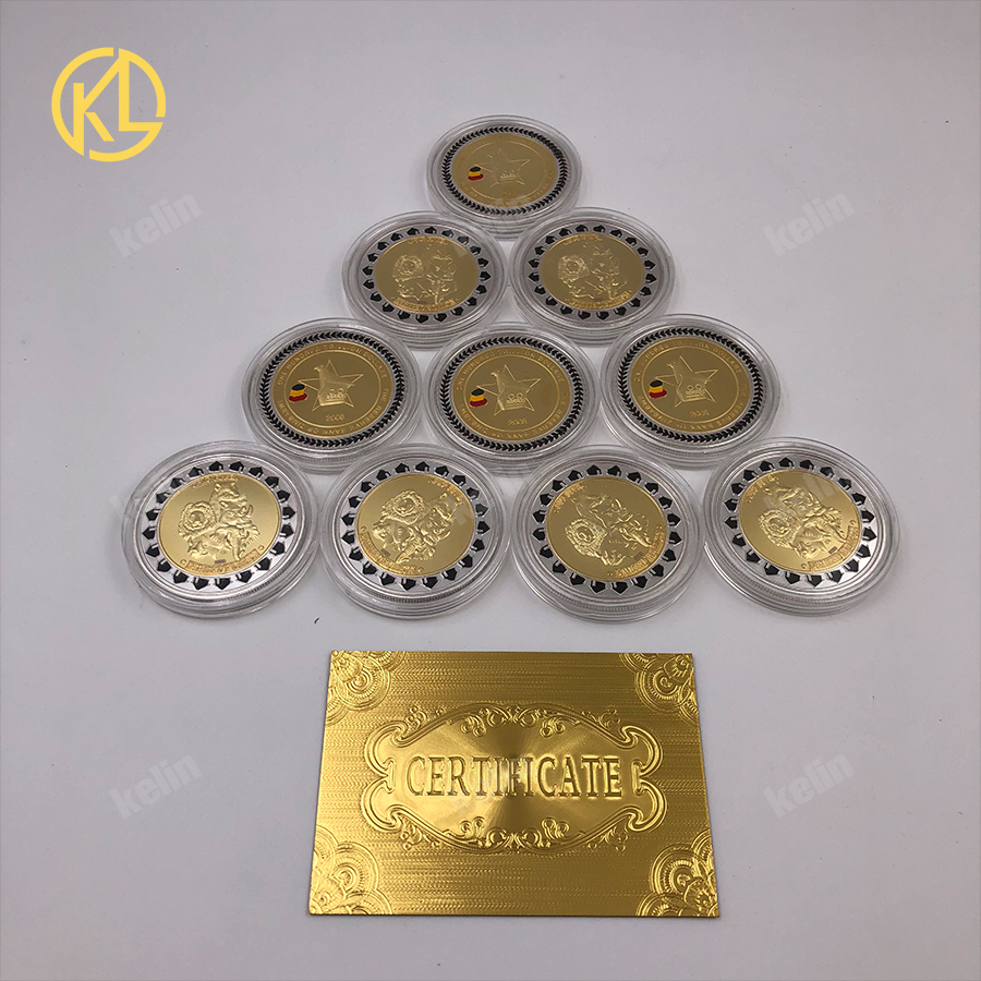 10pcs Zimbabwe Gold Plated Coins Collectible Copy Coin Zimbabwe One Trillion Commemorative Coin For Business Gifts
