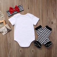 New Newborn Baby Girl Tops Romper +Leg Warmers Headband Outfit Clothes Set 5