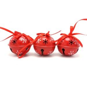 Рождественское украшение 6 шт Красный Железный Колокольчик для дома Снежный чешуйчатый 50 мм Маленький Колокольчик Рождественские принадле...