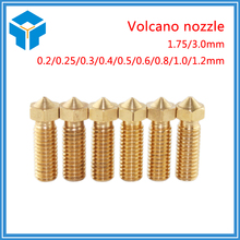 New Volcano 3D printer All metal brass 3D Lengthen extruder nozzle 0.4/0.6/0.8/1.0/1.2mm For 1.75/3mm supplies Free shipping