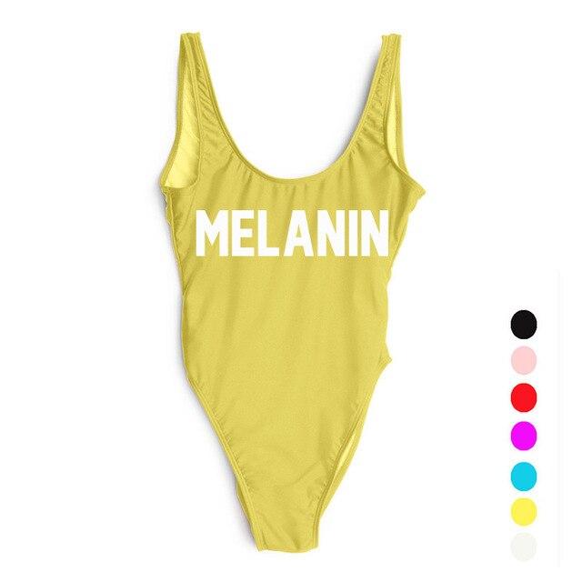 dcc931ce607d5 Bikinis Set MELANIN Letter Printing Swimwear Women High Cut Low Back  Bathing Suit Pink Monokini Bodysuit Beachwear Girls. 1 order