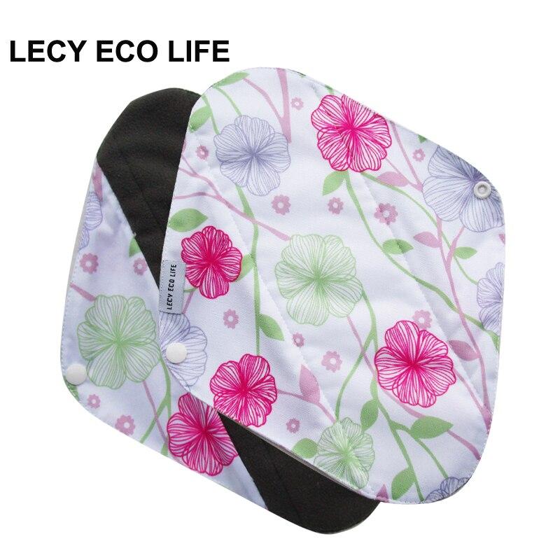 LECY אקו חיים לשימוש חוזר נשים מוצרי היגיינה נשיות, רפידות וסת בד שימוש לילה לספיגה כבד, מודפס כרית לאחר לידה