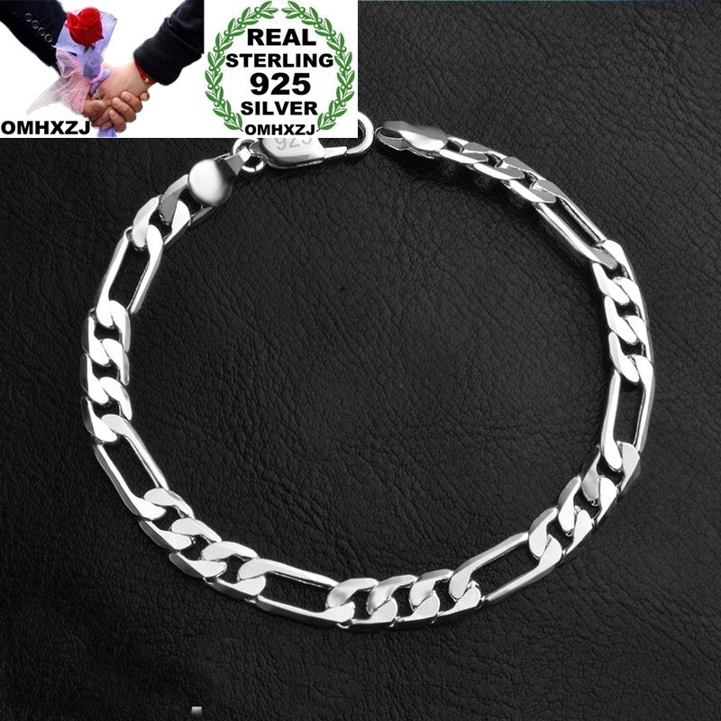 OMHXZJ Wholesale Personality Fashion OL Man Party Wedding Gift Silver Flat Chain Thick 925 Sterling Silver Bracelet BR119OMHXZJ Wholesale Personality Fashion OL Man Party Wedding Gift Silver Flat Chain Thick 925 Sterling Silver Bracelet BR119