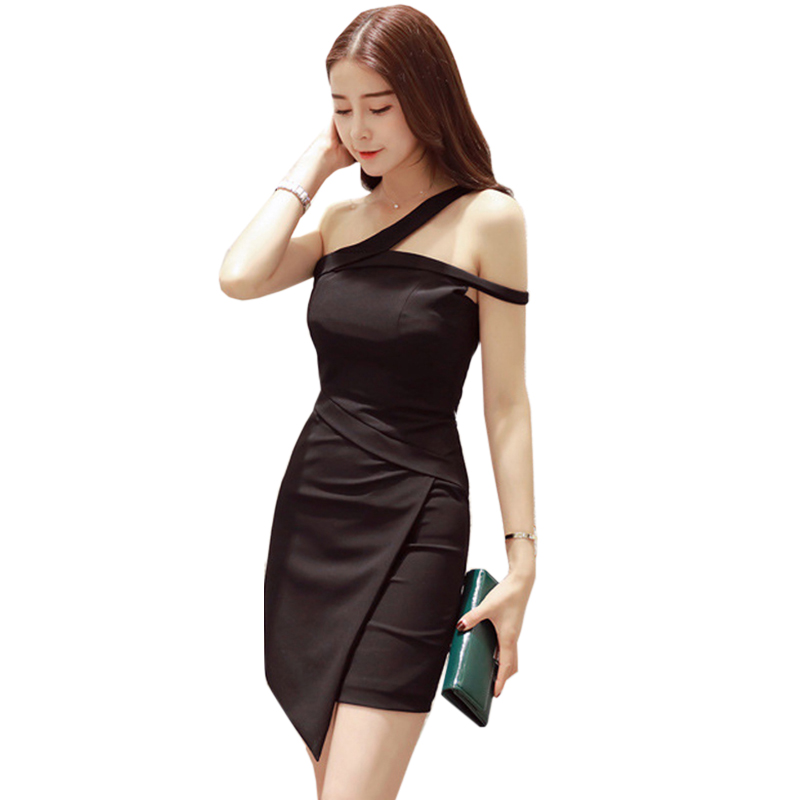 Black White 2018 Spring and summer Dresses One Shoulder Halter Long Sleeve Women Pencil Dress Sexy Club Bodycon Party Dresses club style one shoulder black long beaded sleeve dress for women