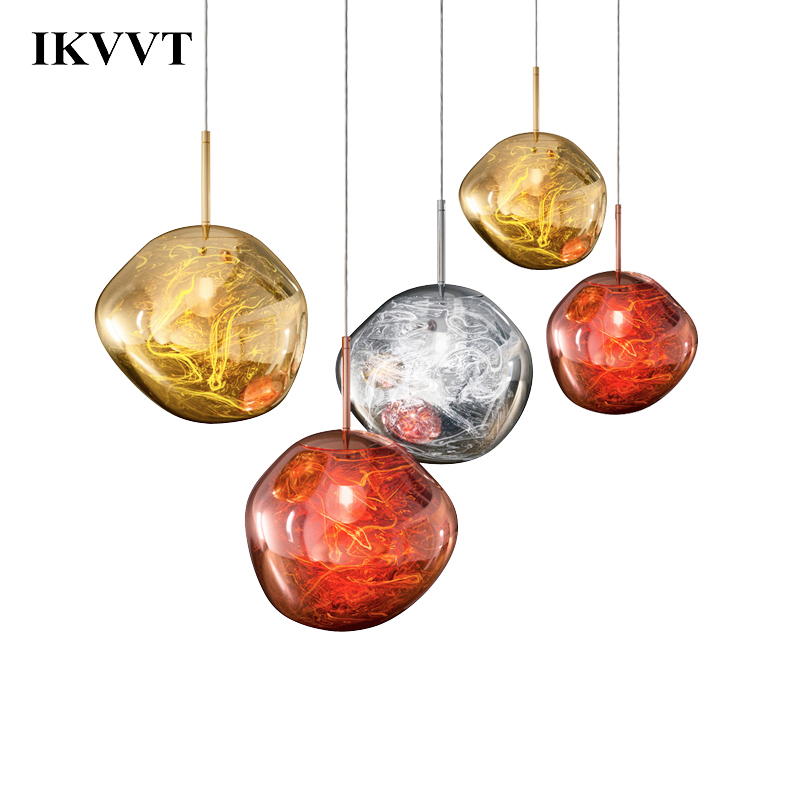 IKVVT Modern Art Glass Pendant Lights Silver Gold Copper Lava Mirror Hanging Lamp Restaurant Livingroom Diningroom Decor Light