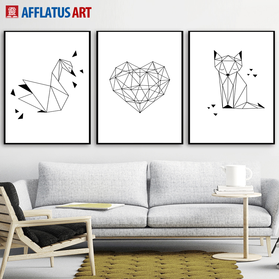 Nordic Poster Pictures Swan Horse Cartoon Wall Painting Girl Room Decor Surprise