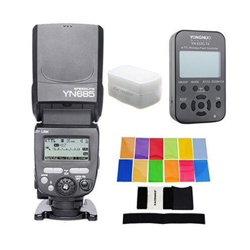 Yongnuo yn685 yn-685 (YN-568EX II Versione Aggiornata) wireless hss ttl flash speedlite per canon + yn622c-tx + filtro + diffusore