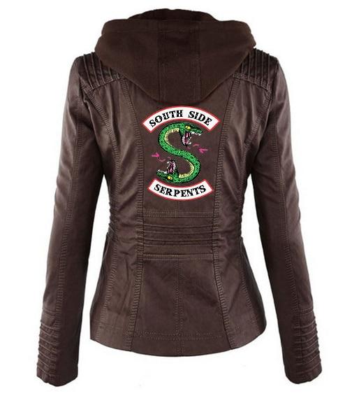 Riverdale Southside Riverdale Serpents black Brown PU Leather Jacket Women Riverdale Serpents Streetwear Leather Brand Coat 16