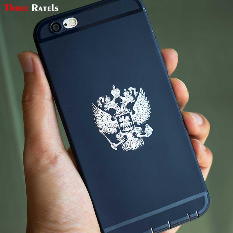 ثلاثة Ratels MT-001XS 4*3.4 سنتيمتر معطف من الأسلحة من روسيا النيكل المعادن الشارات الاتحاد الروسي ملصقات السيارات للهاتف المحمول