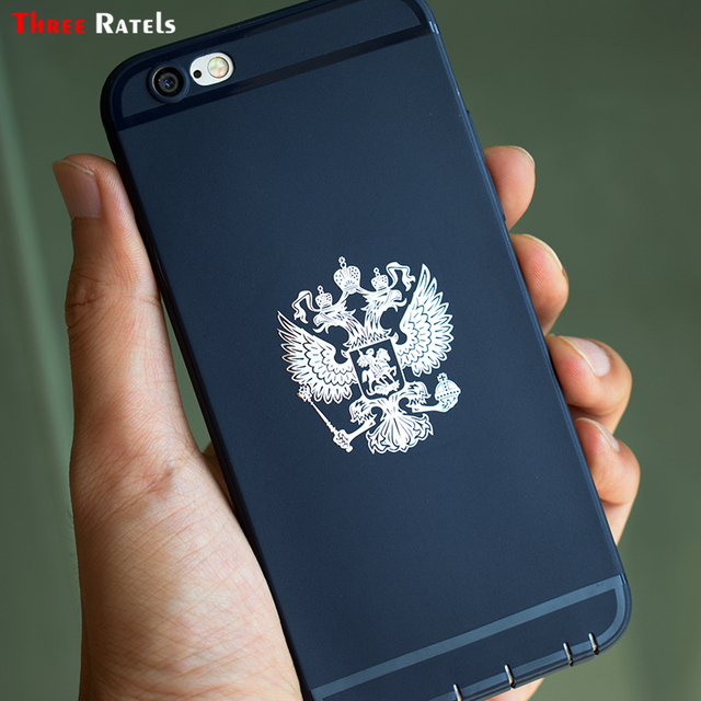 Three Ratels Escudo de Armas de Rusia níquel calcomanías de Metal Federación de Rusia pegatinas de coche para teléfono móvil emblema de águila para coche