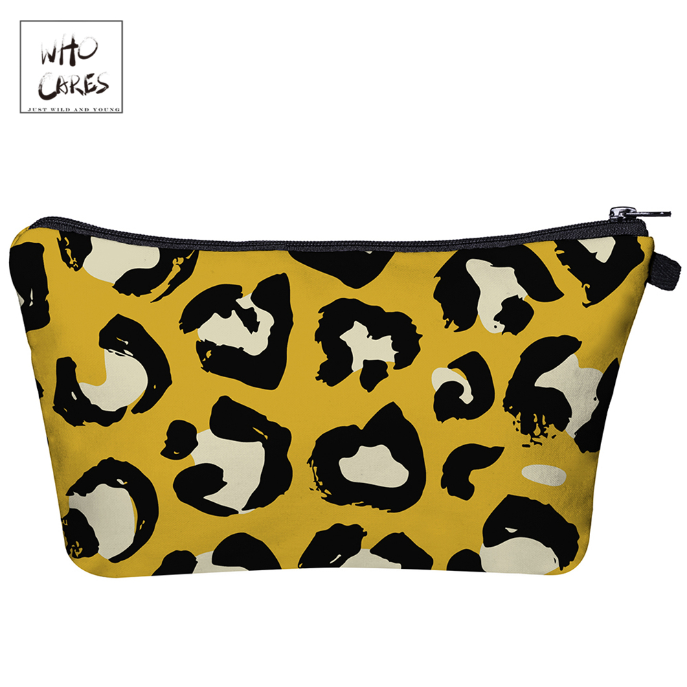 WHO CARES  Cartoon Leopard Print 3D Printing Makeup Bags Fashion Cosmetic Organizer Bag Travel Ladies Pouch Women Cosme Bag