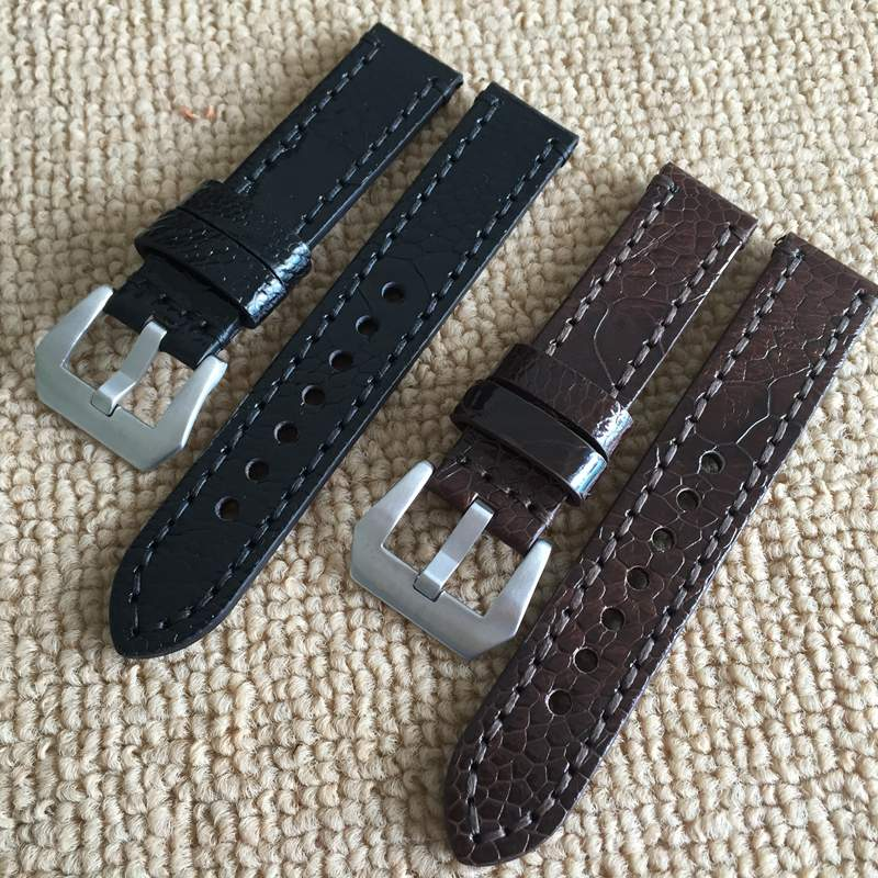 ФОТО Handmade 22mm 22mm Vintage Brown Black Ostrich Skin Leather Strap, Retro Watchband For Kelpy Pilot Watch