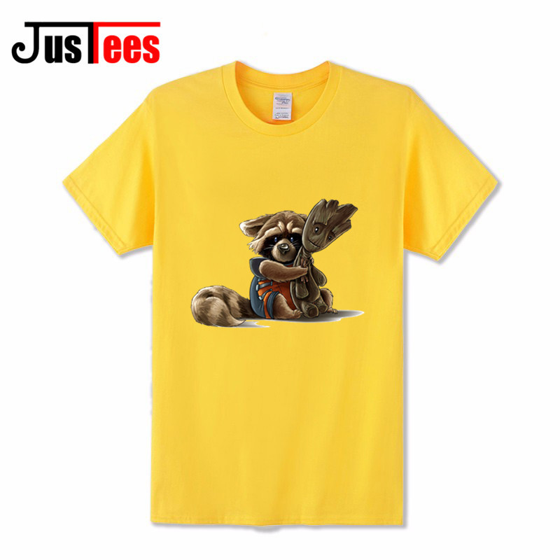 Comic Guardians Of The Galaxy Rocket Raccoon T Shirt Men Swag Clothes Mens Funny T Shirt 2018 Fashion Summer Cartoon Tee Shirts