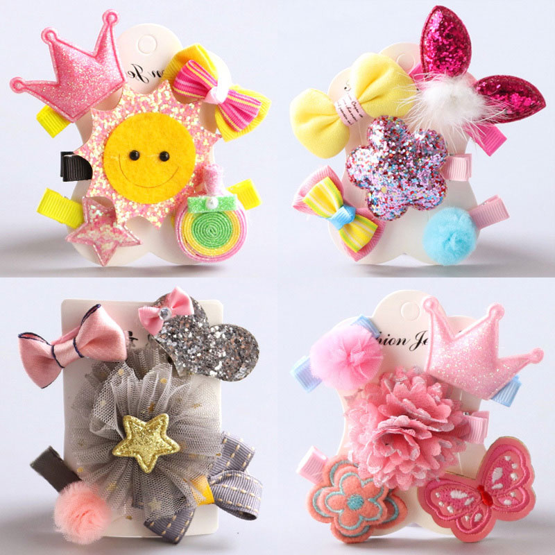 New 5PCS/Lot Baby Girls Handmade Cartoon Cute Flower Bowknot Hairpins Kids Crwon Barrettes Headbands Princess Hair Accessories fashion barrette baby hair clip 10pcs cute flower solid cartoon handmade resin flower children hairpin girl hairgrip accessories