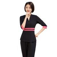 [SET] Women's Short Sleeve Fashion Nurse Scrub Uniform/Medical Uniforms/ /High quality Beautician Spa Clothing