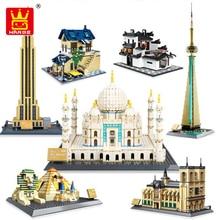مجموعة مكعبات بناء نموذج نوتردام دي باريس من سلسلة الهندسة المعمارية Wange 5210 ألعاب تعليمية كلاسيكية لعلامة بارزة للأطفال