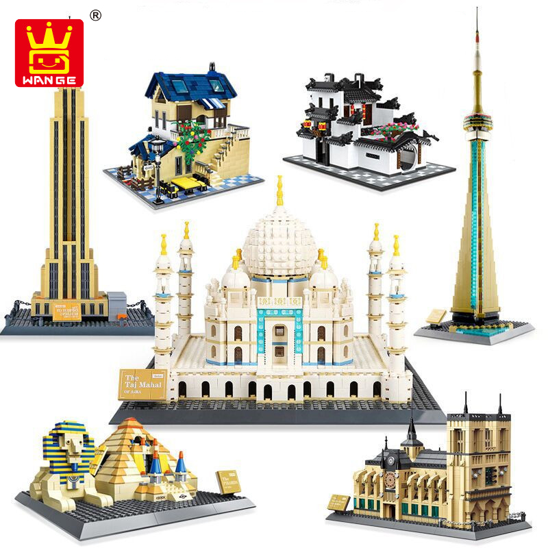 Wange 5210 Architecture series the Notre-Dame de Paris model Building Blocks set classic landmark education Toys for children 2018 new famous architecture series the french arc de triomphe 3d model building blocks classic toys gift