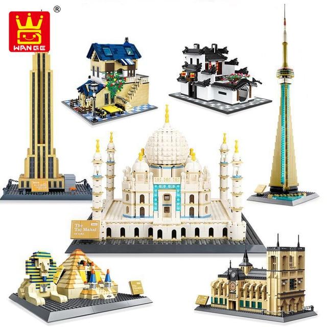 Wange 5210 건축 시리즈 노틀담 드 파리 모델 빌딩 블록 세트 클래식 랜드 마크 교육 완구 어린이를위한