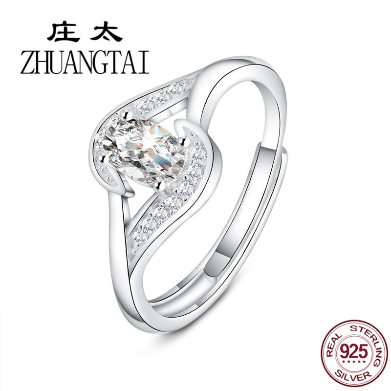 ZHUANGTAI Jewelry 100% 925 Sterling Silver Rings Forever Love Cubic Zirconia Finger Rings for Women Luxury Brand Anel Feminino