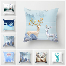 Fuwatacchi Christmas Deer Forest Printed Pillow Cover  Animal Cushion For Sofa Car Chair Home Decor Case 2019