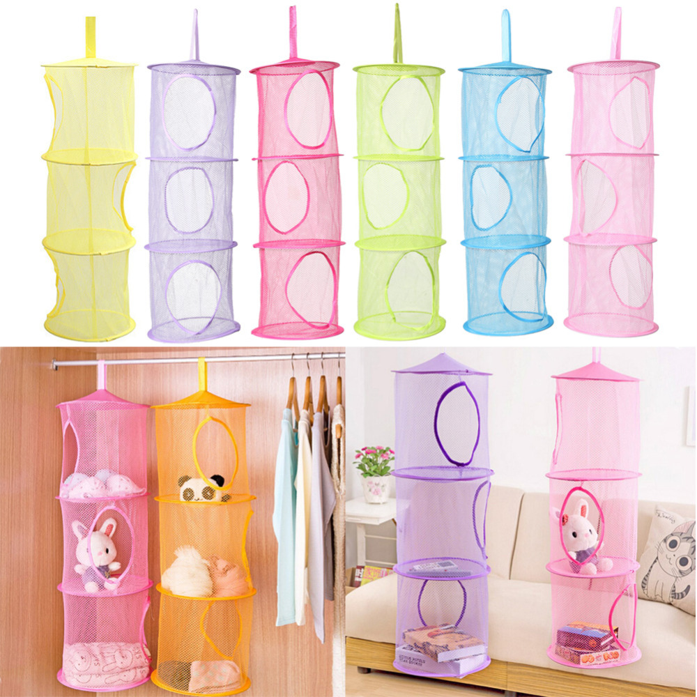 Hot Creative 3 Shelf Hanging Storage Net Kids Toy Organizer Bag