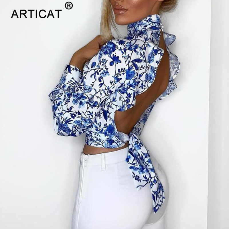 Articat Floral Open Back Sexy Crop Blouse Women Turtleneck Lantern Sleeve Backless Short Summer Bloused Lace Up Ladies Blusas
