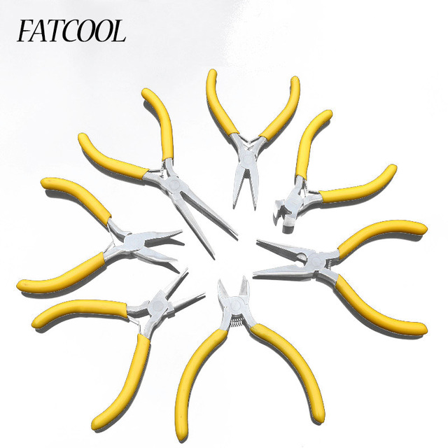 """FATCOOL 7Pc/set High Carbon Steel Yellow Color Mini Precision 5"""" Straight Oblique Mouths Wire Strippers Pliers Tool"""