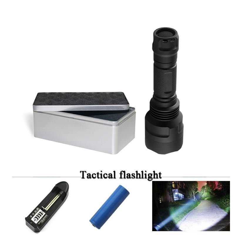 Tactical Portable flashlight CREE XM L2 led flashlight self defense 18650 waterproof hunting Torch linterna lanterna Zaklamp