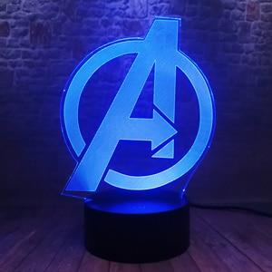 Image 3 - Creative The Avengers 4 Sign Model LOGO Super Hero Marvel Legends 3D RGB LED Night Light Kids Toys Xmas Gift Table Bedroom Decor