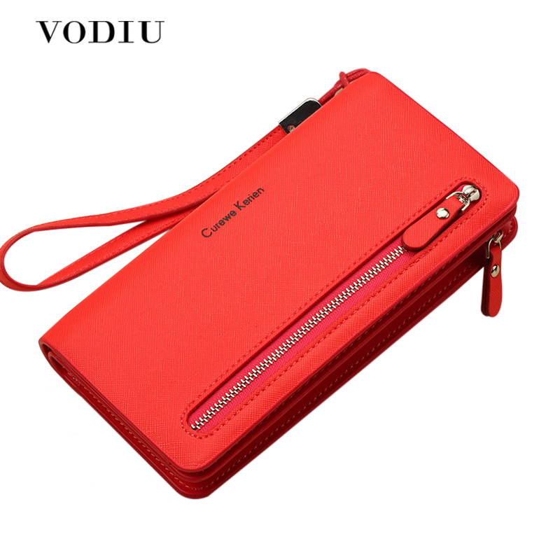 2019 Brand Women Red Pink Long Wallet Bag Female Coin Purse Single Zipper Clutch Bag Female Wallets Fashion Woman Purses Handbag