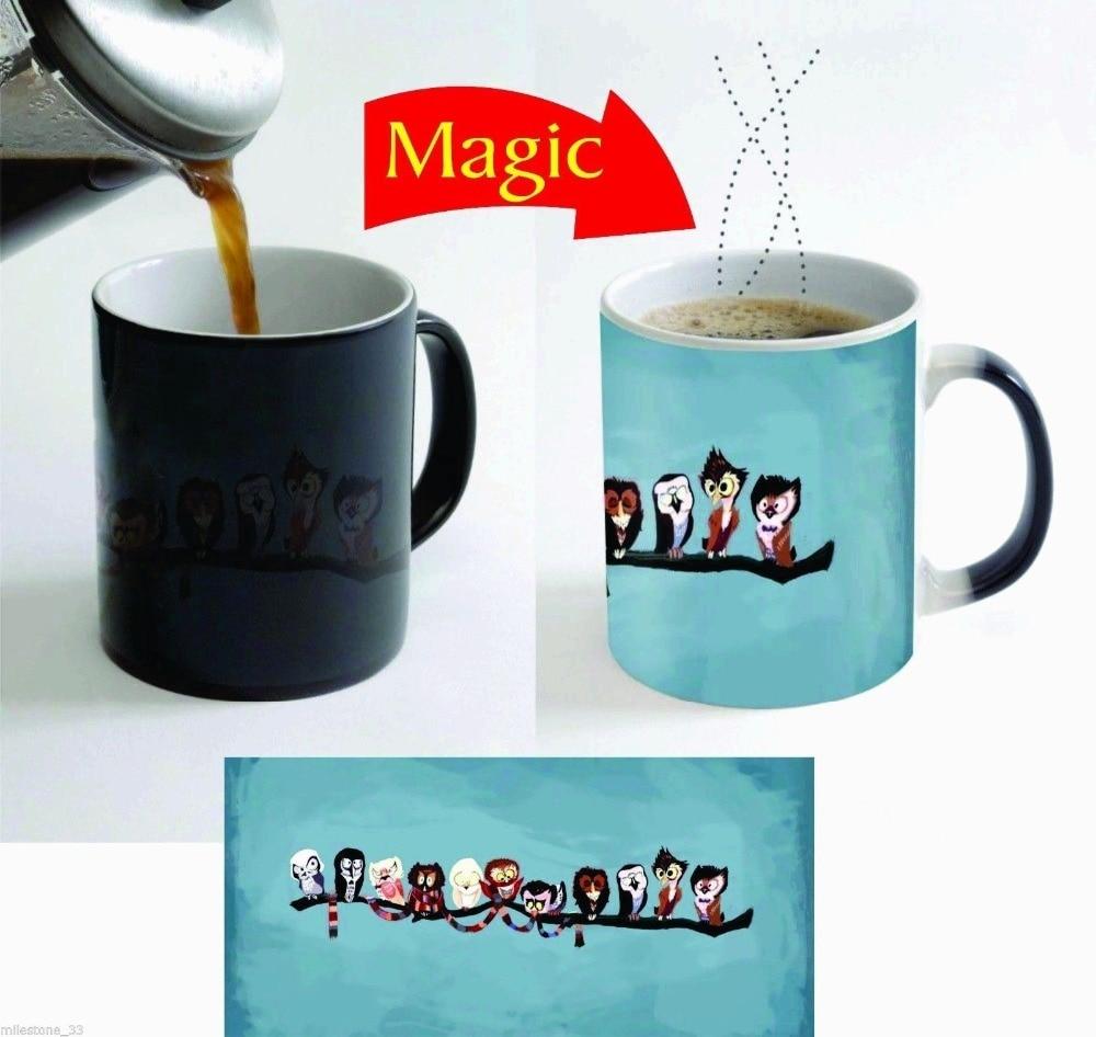 doctor who cups dr who owls mugs owl magic mugs Tea cup cold hot heat sensitive mug heat transforming heat changing color mug