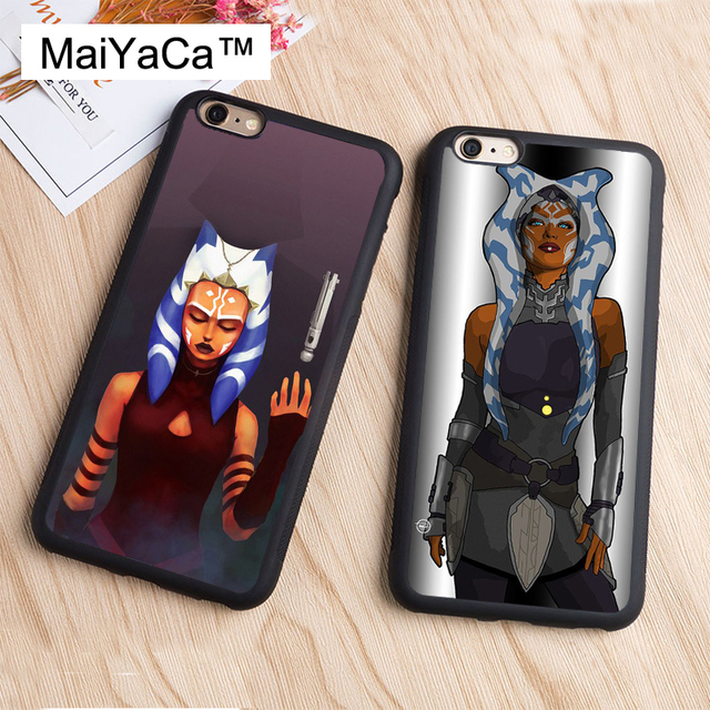 new arrival d3a94 adf01 US $3.89 5% OFF|MaiYaCa Star Wars Ahsoka Tano Phone Case Coque for iPhone 7  8 Plus 5s SE 6 6s X XR XS MAX TPU Case Soft Rubber Back Cover Funda-in ...