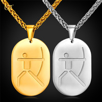 U7 New Stainless Steel Men Necklace Archery Bows Games Sporty Women Jewelry Gold Plated Dog Tags