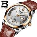 Relógios homens de luxo da marca suíça binger relógios de pulso luminoso bg-0383-6 automatic self-vento cheio de aço inoxidável à prova d' água