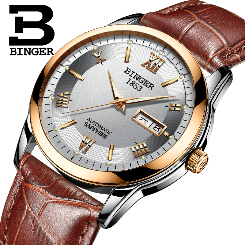Switzerland men's watch luxury brand Wristwatches BINGER luminous Automatic self-wind full stainless steel Waterproof  B-107M-6 switzerland watches men luxury brand men s watches binger luminous automatic self wind full stainless steel waterproof b5036 10