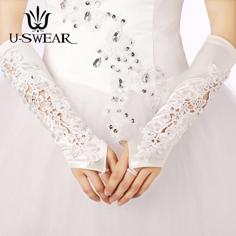 U-SWEAR 2019 New Arrival White Women Wedding Gloves Flora Lace Elbow Length Cheap Bridal Gloves Wedding Accessories